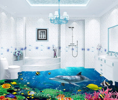 Image of Dophin Coral Colorful Fish Under the Sea 00008 Floor Decals 3D Wallpaper Wall Mural Stickers Print Art Bathroom Decor Living Room Kitchen Waterproof Business Home Office Gift