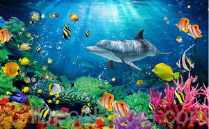 Dophin Coral Colorful Fish Under the Sea 00008 Floor Decals 3D Wallpaper Wall Mural Stickers Print Art Bathroom Decor Living Room Kitchen Waterproof Business Home Office Gift
