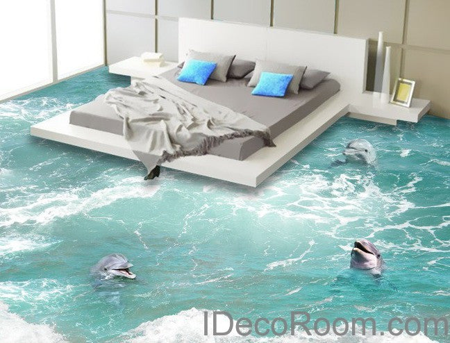 3 Dophins Play in the Water Sea Ocean 00009  Floor Decals 3D Wallpaper Wall Mural Stickers Print Art Bathroom Decor Living Room Kitchen Waterproof Business Home Office Gift