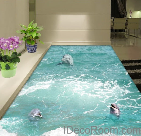 3 Dophins Play In The Water Sea Ocean 00009 Floor Decals