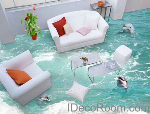 Image of 3 Dophins Play in the Water Sea Ocean 00009  Floor Decals 3D Wallpaper Wall Mural Stickers Print Art Bathroom Decor Living Room Kitchen Waterproof Business Home Office Gift