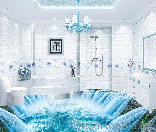 Waterfall river 00010 floor decals 3d wallpaper wall mural for Bathroom floor mural