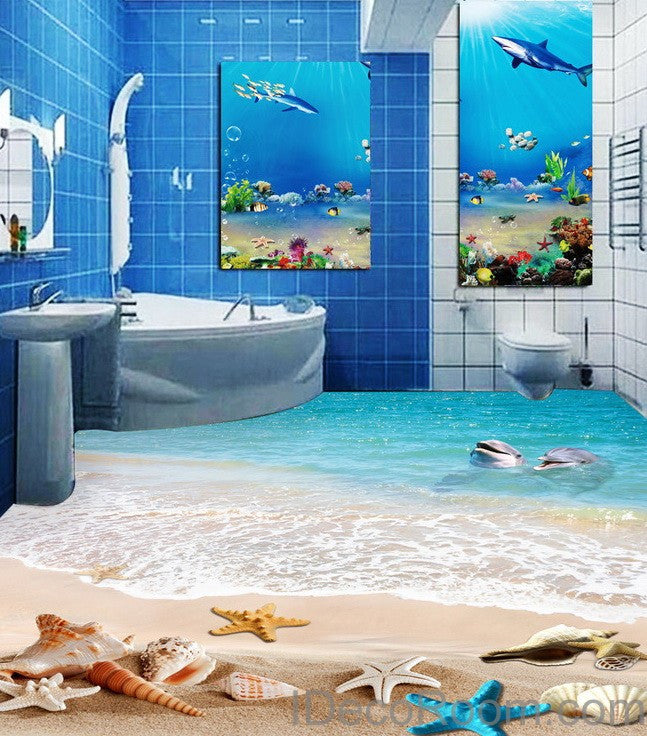 Dophin Beach Blue Star Fish Shell 00011 Floor Decals 3D Wallpaper Wall Mural Stickers Print Art Bathroom Decor Living Room Kitchen Waterproof Business Home Office Gift