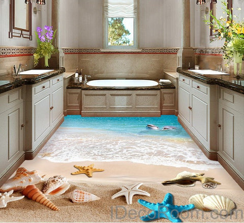 Image of Dophin Beach Blue Star Fish Shell 00011 Floor Decals 3D Wallpaper Wall Mural Stickers Print Art Bathroom Decor Living Room Kitchen Waterproof Business Home Office Gift