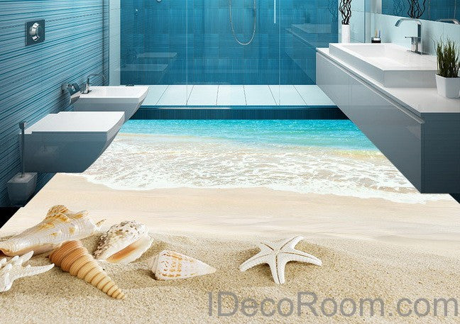 Beach Wave Sand Shells 00012 Floor Decals 3d Wallpaper Wall Mural Stic Idecoroom