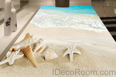Image of Beach Wave Sand Shells 00012 Floor Decals 3D Wallpaper Wall Mural Stickers Print Art Bathroom Decor Living Room Kitchen Waterproof Business Home Office Gift