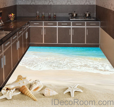 Beach Wave Sand Shells 00012 Floor Decals 3D Wallpaper Wall Mural Stickers Print Art Bathroom Decor Living Room Kitchen Waterproof Business Home Office Gift