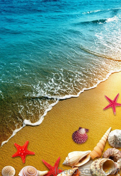 Beach Sand Star Fish Shells 00013 Floor Decals 3d Wallpaper Wall Mural Idecoroom