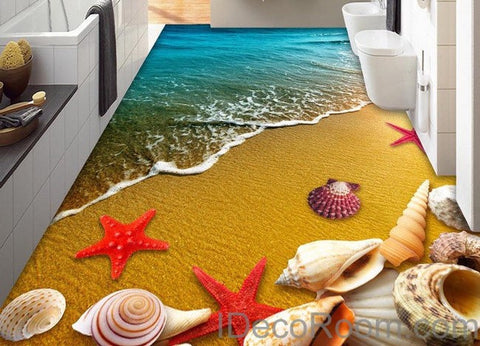 Image of Beach Sand Star Fish Shells 00013 Floor Decals 3D Wallpaper Wall Mural Stickers Print Art Bathroom Decor Living Room Kitchen Waterproof Business Home Office Gift