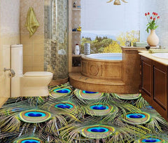 Peacock Feather Luxury 00014 Floor Decals 3D Wallpaper Wall Mural Stickers Print Art Bathroom Decor Living Room Kitchen Waterproof Business Home Office Gift