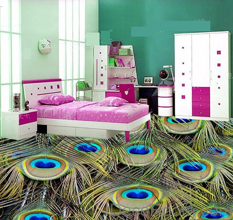 Image of Peacock Feather Luxury 00014 Floor Decals 3D Wallpaper Wall Mural Stickers Print Art Bathroom Decor Living Room Kitchen Waterproof Business Home Office Gift