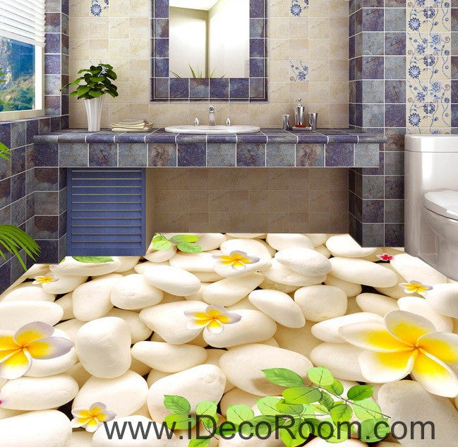 Plumeria white stone branch leaves 00015 floor decals 3d for 3d wallpaper for kitchen walls