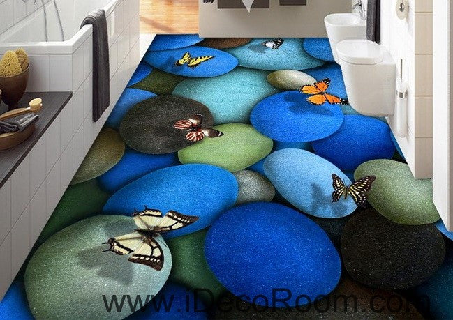 Blue Butterflies Stone 00016 Floor Decals 3D Wallpaper Wall Mural Stickers Print Art Bathroom Decor Living Room Kitchen Waterproof Business Home Office Gift