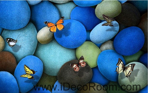 Image of Blue Butterflies Stone 00016 Floor Decals 3D Wallpaper Wall Mural Stickers Print Art Bathroom Decor Living Room Kitchen Waterproof Business Home Office Gift