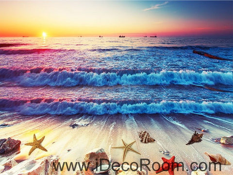 Image of Sunrise Beach Wave Shells 00017 Floor Decals 3D Wallpaper Wall Mural Stickers Print Art Bathroom Decor Living Room Kitchen Waterproof Business Home Office Gift