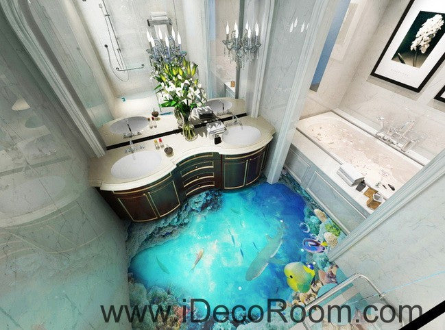 Shark under the sea coral 00018 floor decals 3d wallpaper for Floor 3d wallpaper