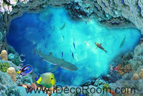 Shark Under the Sea Coral 00018 Floor Decals 3D Wallpaper Wall Mural Stickers Print Art Bathroom Decor Living Room Kitchen Waterproof Business Home Office Gift