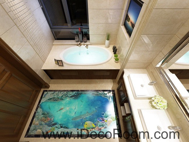 Shark under the sea coral 00018 floor decals 3d wallpaper for Under the sea bathroom ideas