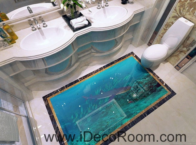 Shark Under the Sea Fish 00019 Floor Decals 3D Wallpaper Wall Mural Stickers Print Art Bathroom Decor Living Room Kitchen Waterproof Business Home Office Gift