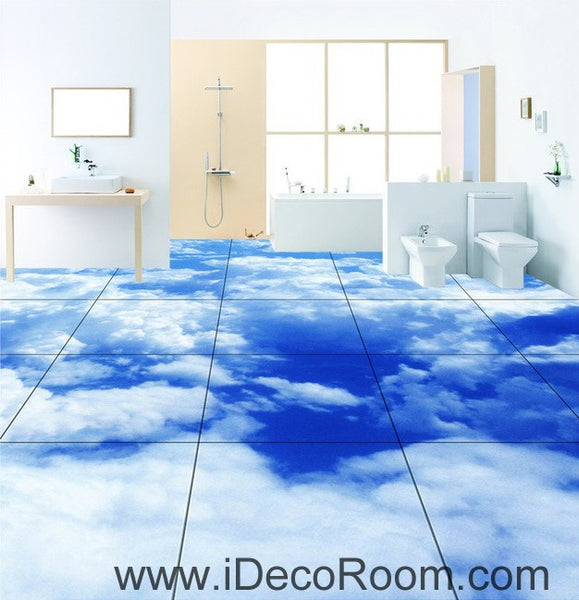 Blue sky clouds 00020 floor decals 3d wallpaper wall mural for Blue sky bathroom tile floor decoration