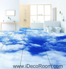 Blue Sky Clouds 00020 Floor Decals 3D Wallpaper Wall Mural Stickers Print Art Bathroom Decor Living Room Kitchen Waterproof Business Home Office Gift
