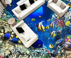 Colorful Fish Coral Rock Reef 00021 Floor Decals 3D Wallpaper Wall Mural Stickers Print Art Bathroom Decor Living Room Kitchen Waterproof Business Home Office Gift