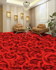 Full Red Romantic Roses 00022 Floor Decals 3D Wallpaper Wall Mural Stickers Print Art Bathroom Decor Living Room Kitchen Waterproof Business Home Office Gift