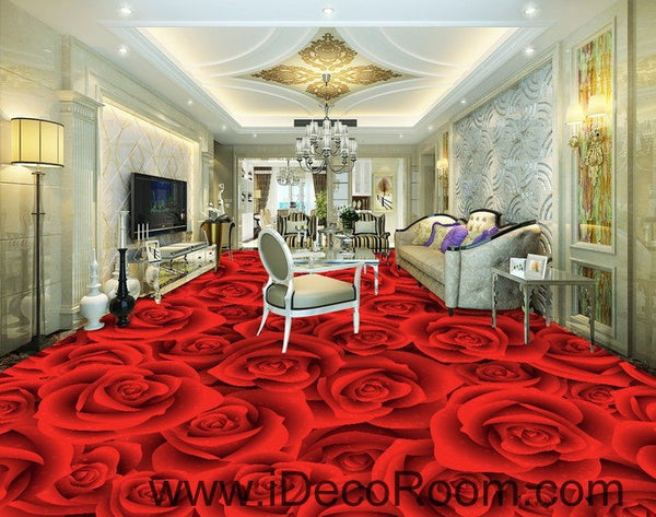 Full Red Romantic Roses 00022 Floor Decals 3d Wallpaper