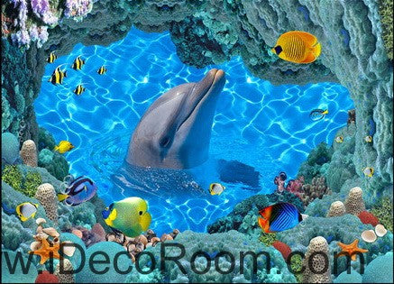 Image of Ocean Sea Dophin Play with Fish 00023 Floor Decals 3D Wallpaper Wall Mural Stickers Print Art Bathroom Decor Living Room Kitchen Waterproof Business Home Office Gift
