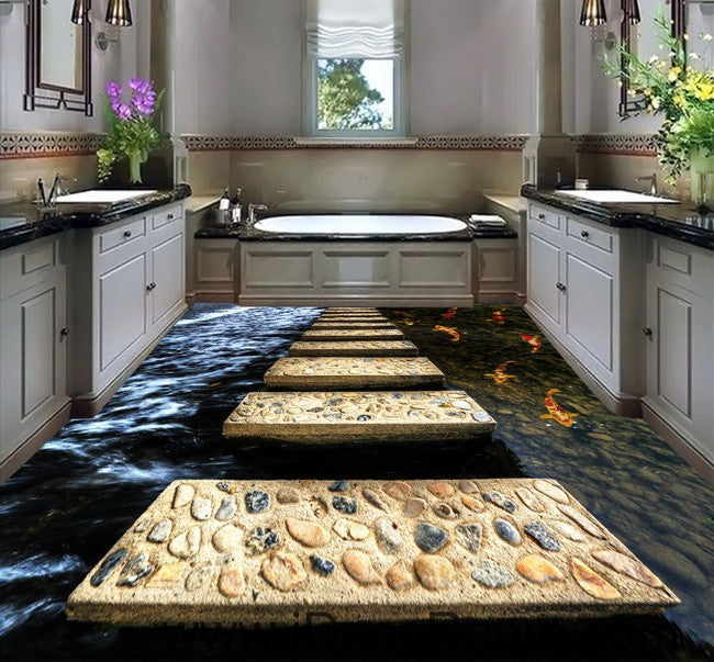 Stone stage fish in water 00024 floor decals 3d wallpaper for 3d wallpaper for kitchen walls