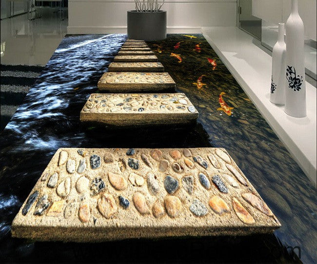 Stone Stage Fish In Water 00024 Floor Decals 3d Wallpaper Wall Mural S Idecoroom
