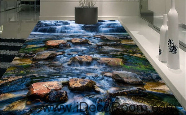 Waterfall Stone Steam Brook 00025 Floor Decals 3d