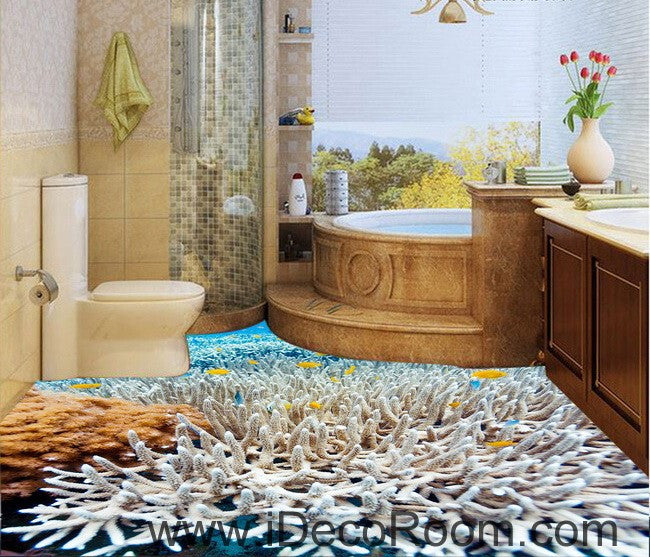 White coral under the sea 00026 floor decals 3d wallpaper for Bathroom 3d wallpaper