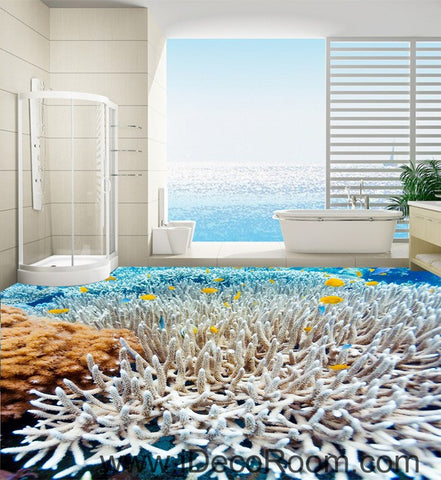 White Coral Under the Sea 00026 Floor Decals 3D Wallpaper Wall Mural Stickers Print Art Bathroom Decor Living Room Kitchen Waterproof Business Home Office Gift