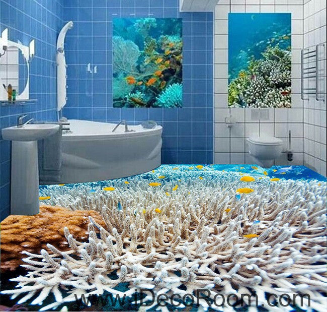 White Coral Under The Sea 00026 Floor Decals 3D Wallpaper Wall Mural  Stickers Print Art Bathroom Part 91