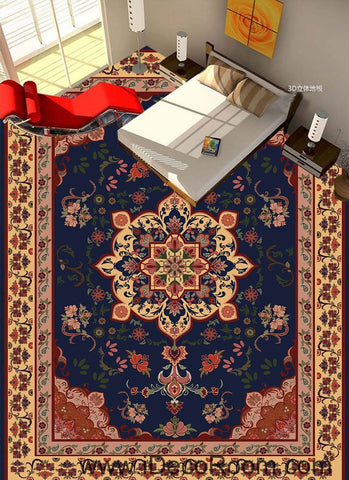 Image of Classic Flower Carpet 00029 Floor Decals 3D Wallpaper Wall Mural Stickers Print Art Bathroom Decor Living Room Kitchen Waterproof Business Home Office Gift