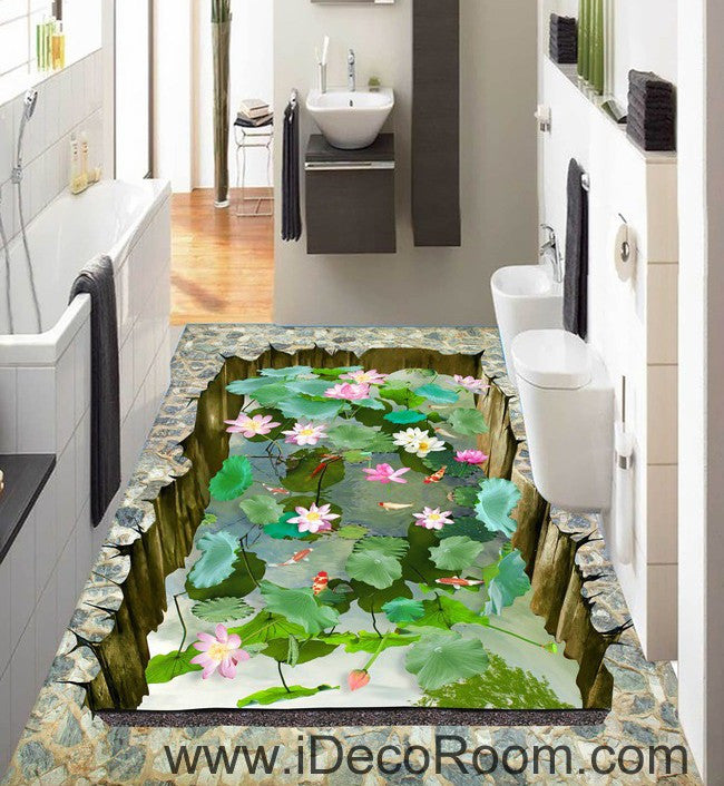 Lilypad Lotus Pond Goldfish 00030 Floor Decals 3D Wallpaper Wall Mural Stickers Print Art Bathroom Decor Living Room Kitchen Waterproof Business Home Office Gift