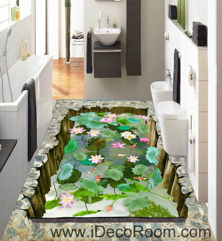 Image of Lilypad Lotus Pond Goldfish 00030 Floor Decals 3D Wallpaper Wall Mural Stickers Print Art Bathroom Decor Living Room Kitchen Waterproof Business Home Office Gift
