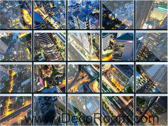 Glass Roof Effect City Night 00031 Floor Decals 3D Wallpaper Wall Mural Stickers Print Art Bathroom Decor Living Room Kitchen Waterproof Business Home Office Gift