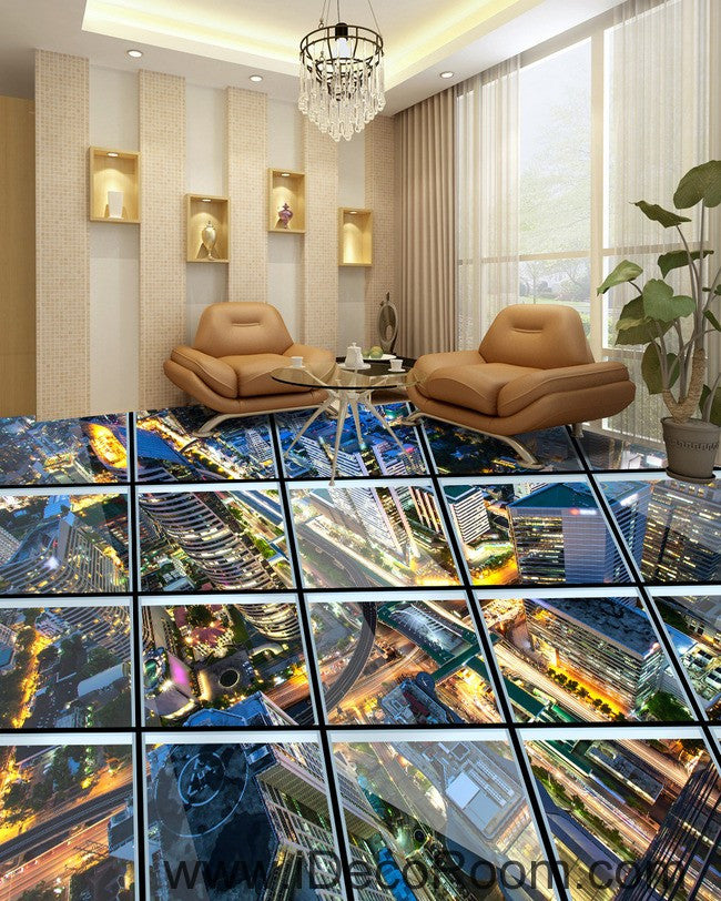 Glass roof effect city night 00031 floor decals 3d for 3d effect wallpaper for walls