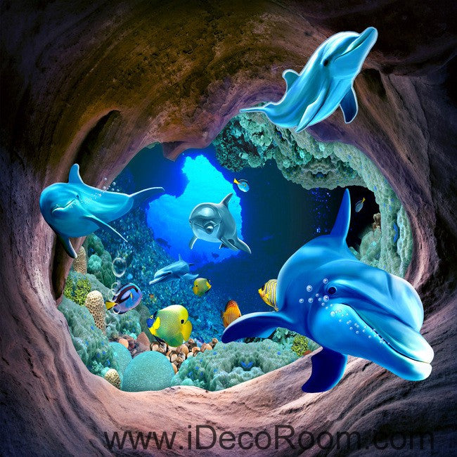 Dophins Swimming in Hole Fish Sea 00032 Floor Decals 3D Wallpaper Wall Mural Stickers Print Art Bathroom Decor Living Room Kitchen Waterproof Business Home Office Gift