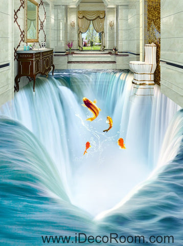 Image of Waterfall Fish Jumping 00034 Floor Decals 3D Wallpaper Wall Mural Stickers Print Art Bathroom Decor Living Room Kitchen Waterproof Business Home Office Gift
