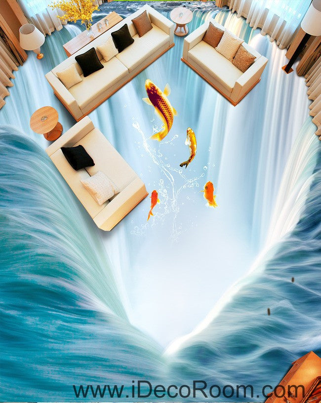 Waterfall fish jumping 00034 floor decals 3d wallpaper for 3d wallpaper for kitchen walls
