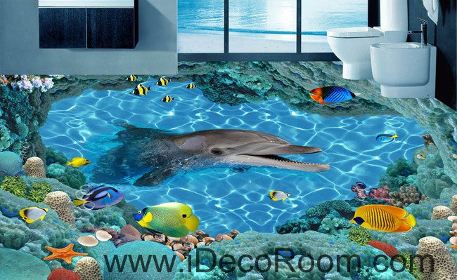 Smiling Dophin Colorful Fish 00035 Floor Decals 3D Wallpaper Wall ...