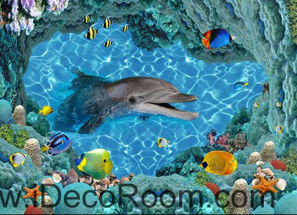 Smiling Dophin Colorful Fish 00035  Floor Decals 3D Wallpaper Wall Mural Stickers Print Art Bathroom Decor Living Room Kitchen Waterproof Business Home Office Gift