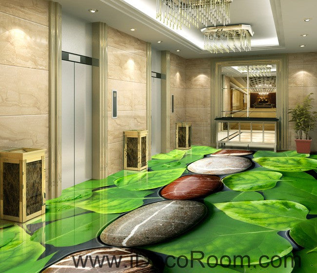 Stone Line Large Leaves 00036 Floor Decals 3D Wallpaper Wall Mural Stickers Print Art Bathroom Decor Living Room Kitchen Waterproof Business Home Office Gift