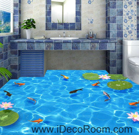 Image of Clear Water Fish Lotus 00037 Floor Decals 3D Wallpaper Wall Mural Stickers Print Art Bathroom Decor Living Room Kitchen Waterproof Business Home Office Gift
