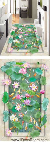 Image of Vivid Green Lilypad Colorful Fish Lotus 00039 Floor Decals 3D Wallpaper Wall Mural Stickers Print Art Bathroom Decor Living Room Kitchen Waterproof Business Home Office Gift