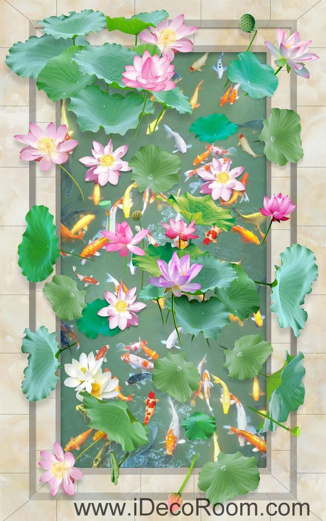 Vivid Green Lilypad Colorful Fish Lotus 00039 Floor Decals 3D Wallpaper Wall Mural Stickers Print Art Bathroom Decor Living Room Kitchen Waterproof Business Home Office Gift