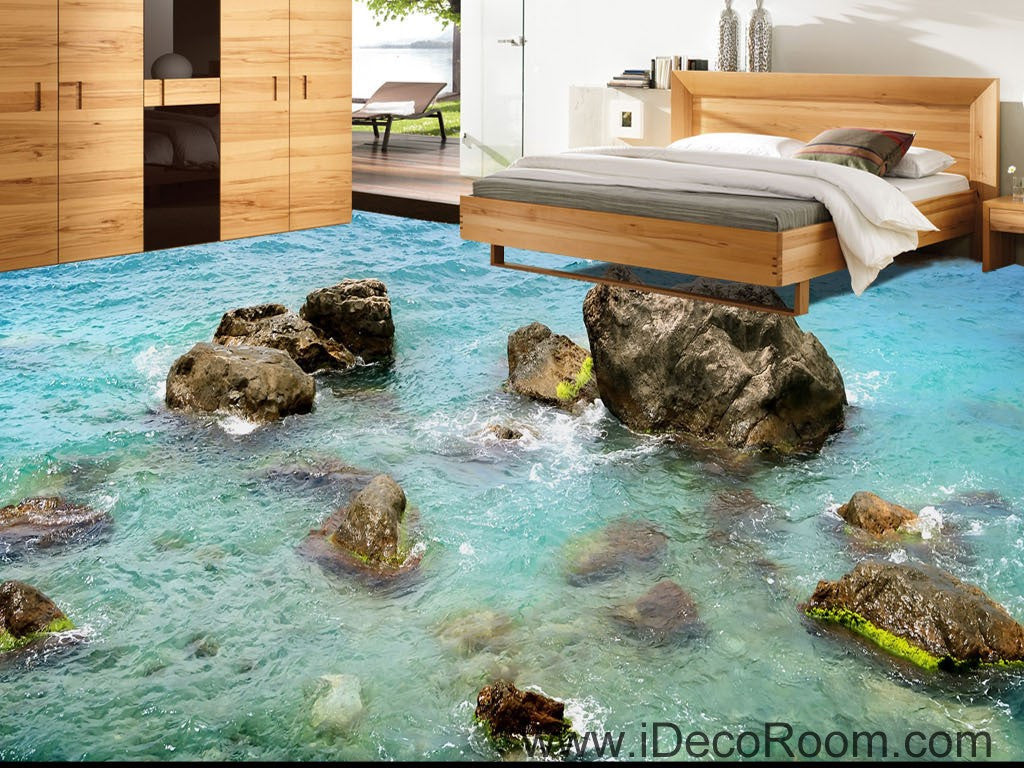 Sea Ocean Rocks 00040 Floor Decals 3D Wallpaper Wall Mural Stickers Print Art Bathroom Decor Living Room Kitchen Waterproof Business Home Office Gift